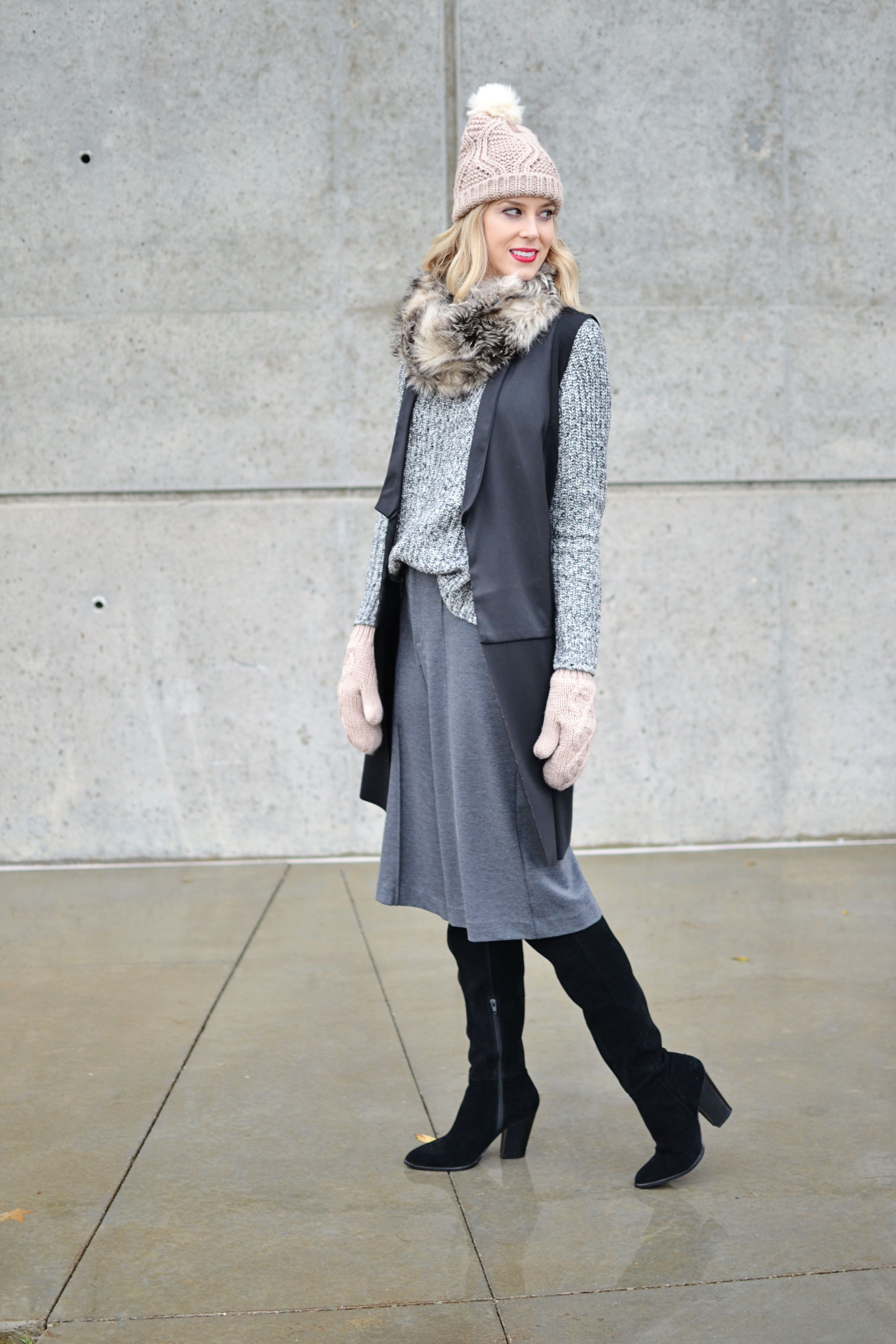 Old Navy sweater, culottes, and accessories, OTK boots, long vest