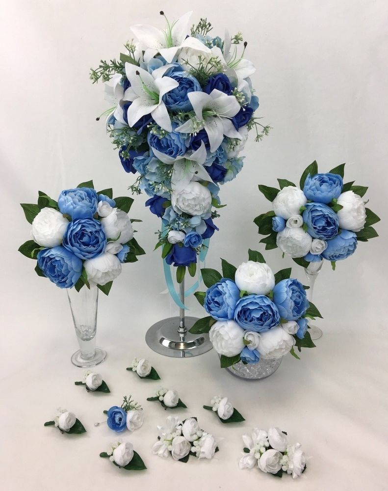 Details About Hand Tied Real Touch Calla Lilies Blue Cream Peonies