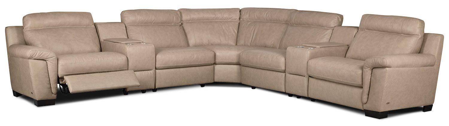 Living Room Furniture   Seth Genuine Leather 7 Piece Power Reclining  Sectional U2013 Rope