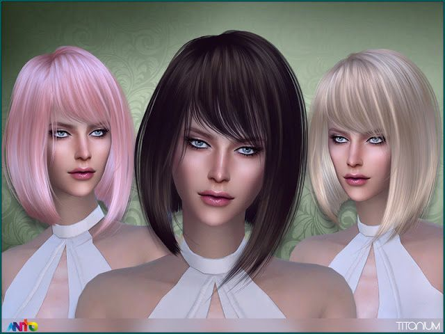 Sims 4 Ccs The Best Titanium Hair By Anto Sims 4 Cc