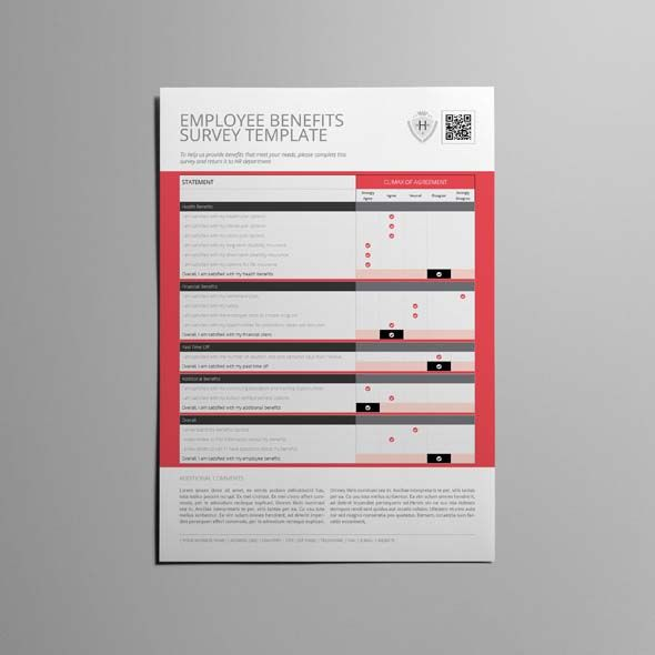 Employee Benefits Survey Template  Cmyk  Print Ready  Clean And