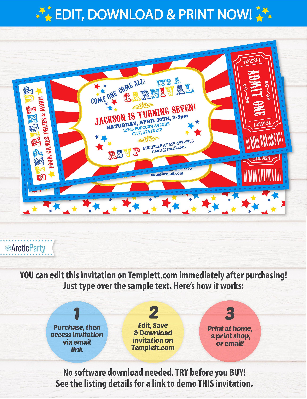 Carnival Invitations - Carnival Theme Party - Carnival Birthday ...