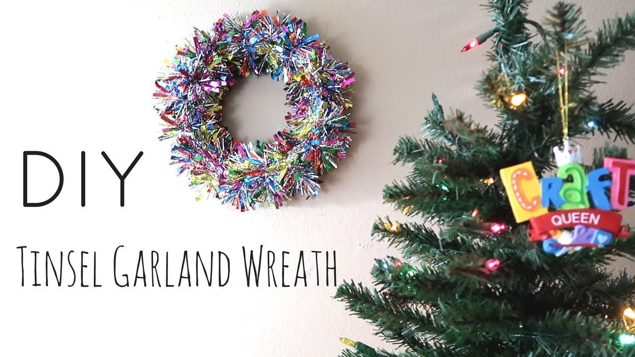 DIY Tinsel Garland Wreath YouTube Tinsel garland
