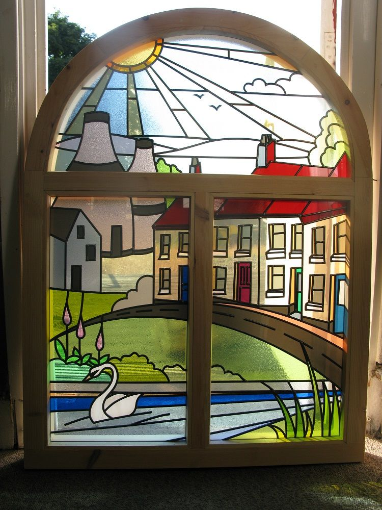 Potteries Scene With Houses Replica Stained Glass
