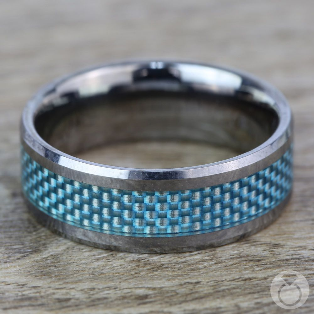 Tungsten Carbide Ring With Blue Carbon Fiber Inlay (8mm