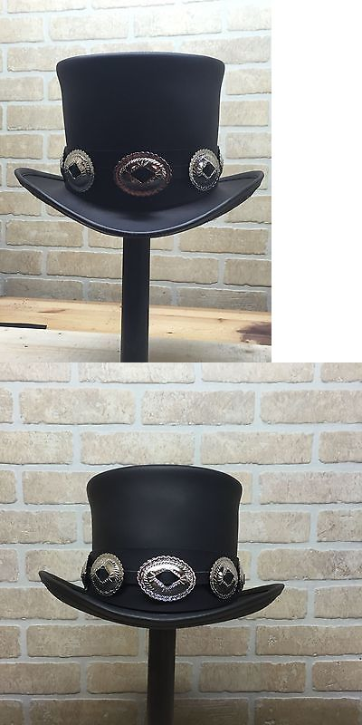 Other Theatrical Clothing 163149  Rocker Black Leather Slash Style Top Hat  Conchos Band Replica Fans High Top Hat -  BUY IT NOW ONLY   215.99 on eBay! d19ada7c196
