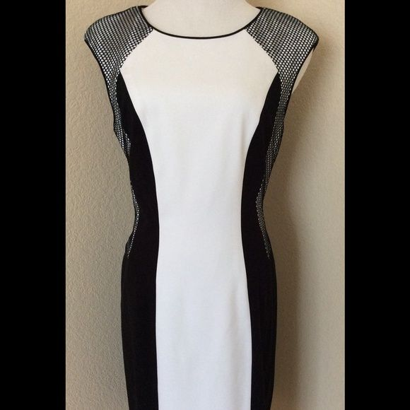 Stunning new black white sheath dress sleeveless New Calvin Klein dress, it fits US woman size 36 C chest, Hips 40-41 inches, No defined waste, but it fits woman waste 29-32 inches it is a form fitting dress, full zipper in back, It is lined, Soft polyester, it has very little stretch. Total length 38 inches. Sides and shoulders are mesh over white fabric. Lovely color block dress size 8 by the manufacturer label. Calvin Klein Dresses