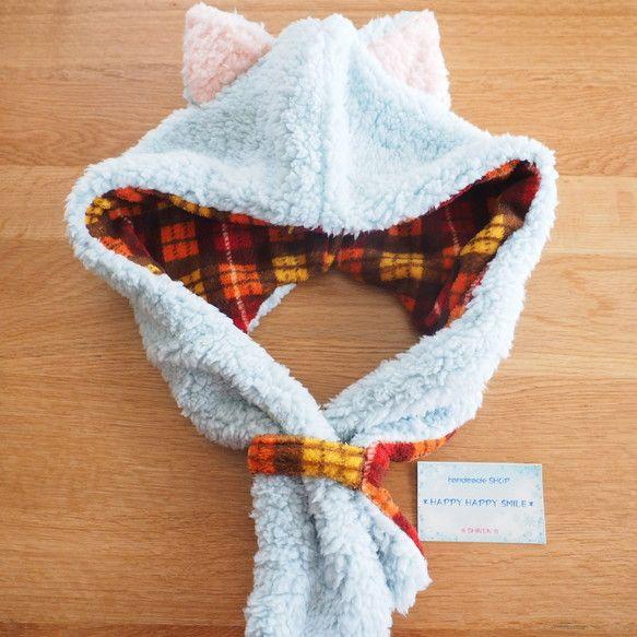 ふわもこネコ耳フード付きマフラー 水色ネコ フード 水色 付き