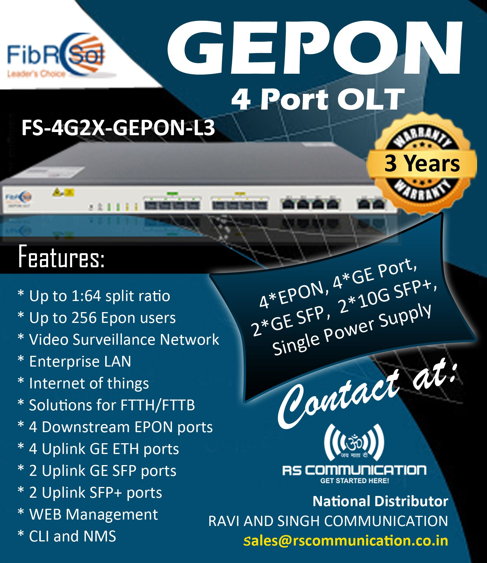 Fibrsol S Gepon 4 Port Olt Hurry In 2020 Video Surveillance Power Communication