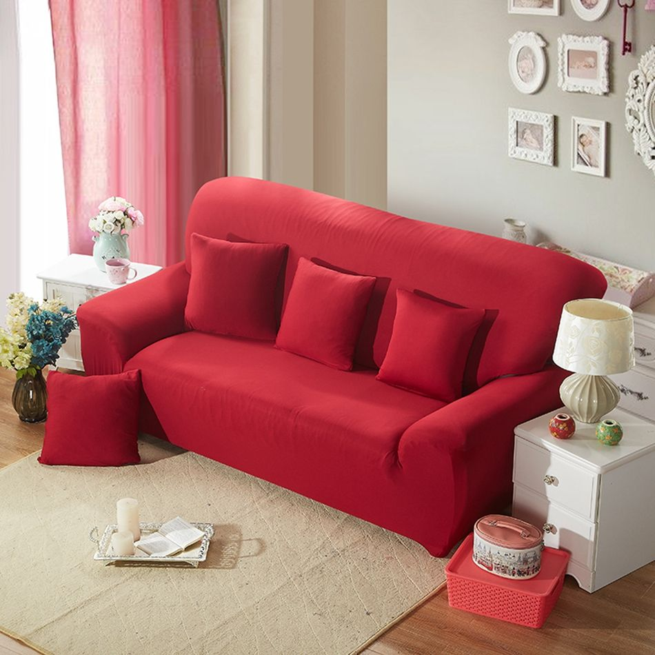 Red Solid Color Universal Sofa Cover Polyester Couch