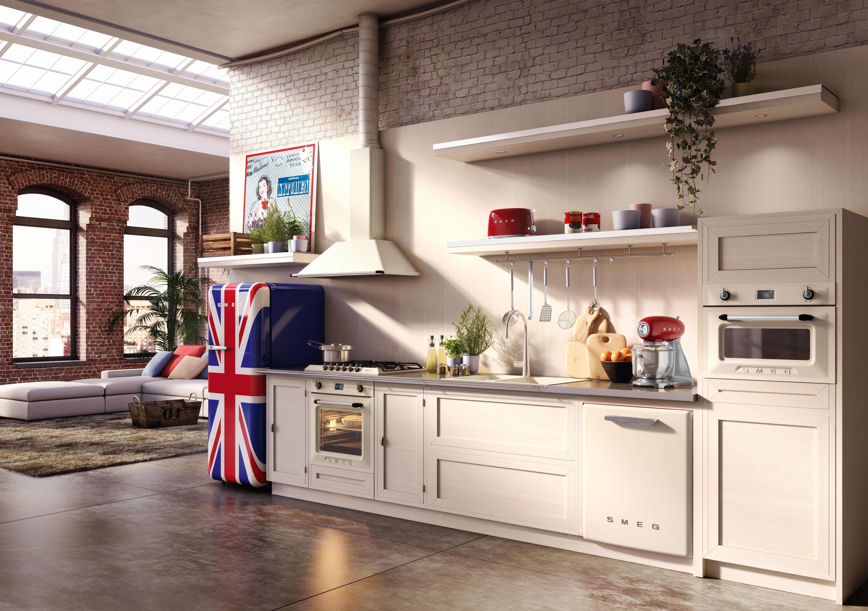 offene wohnk che im retro stil von smeg mehr unter ideenwelten f r k chen. Black Bedroom Furniture Sets. Home Design Ideas
