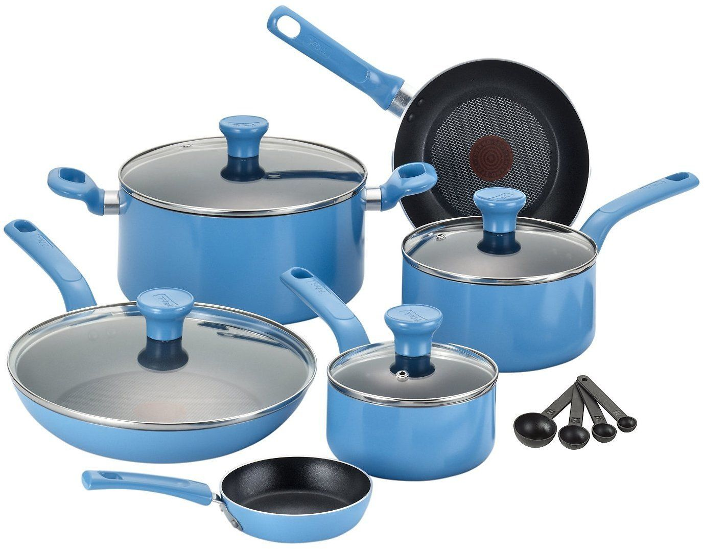 14-Piece T-fal Nonstick Thermo-Spot Cookware Set (Blue)   Deal On ...