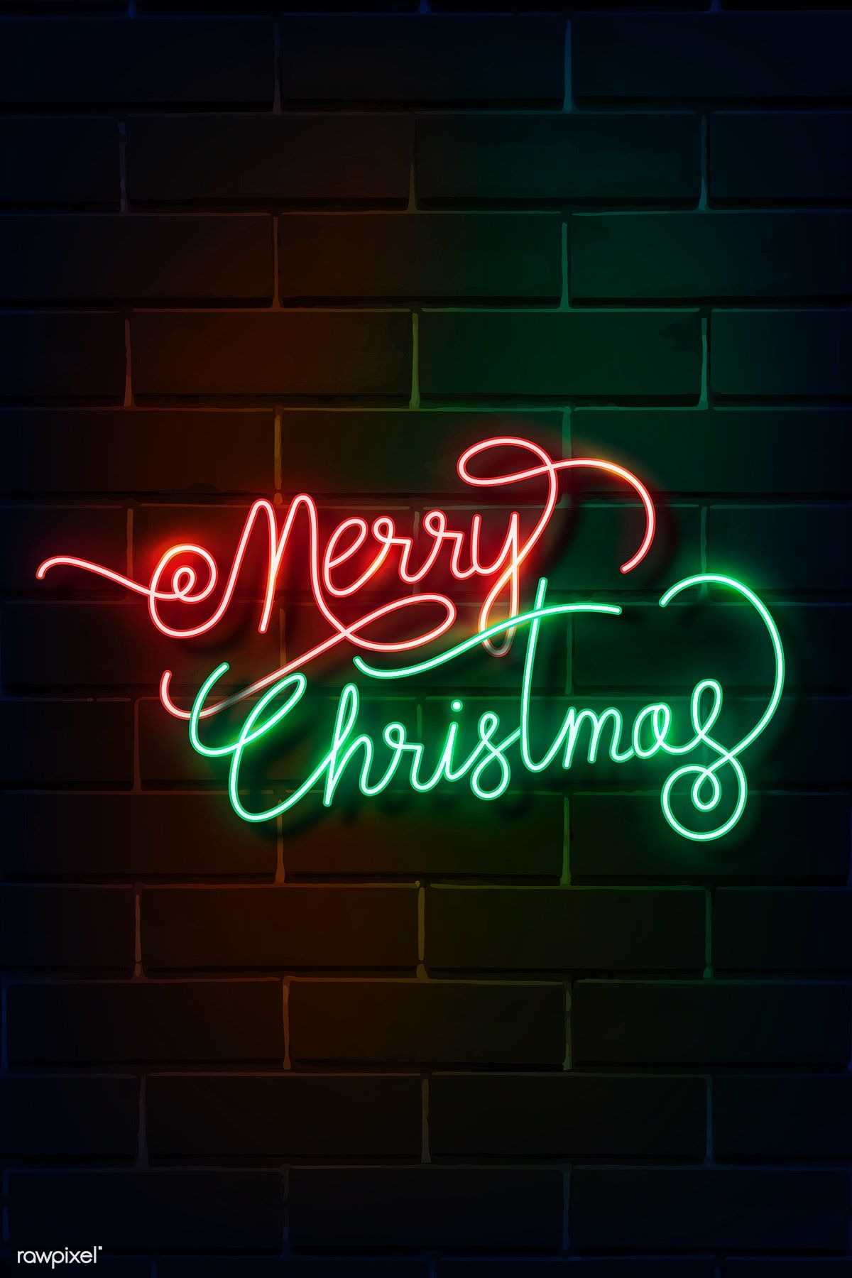 Download Premium Vector Of Merry Christmas Neon Sign On A Dark Brick Wall Xmas Wallpaper Neon Signs Merry Christmas Wallpaper