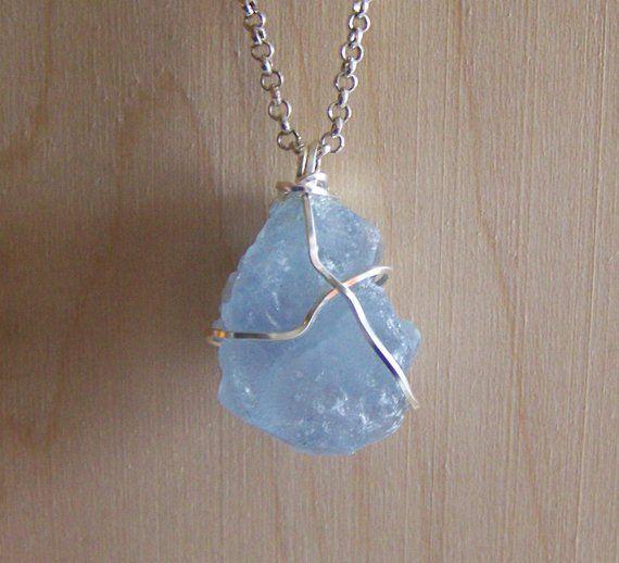 Sky Blue Quartz Necklace Metaphysical Jewelry Crystals