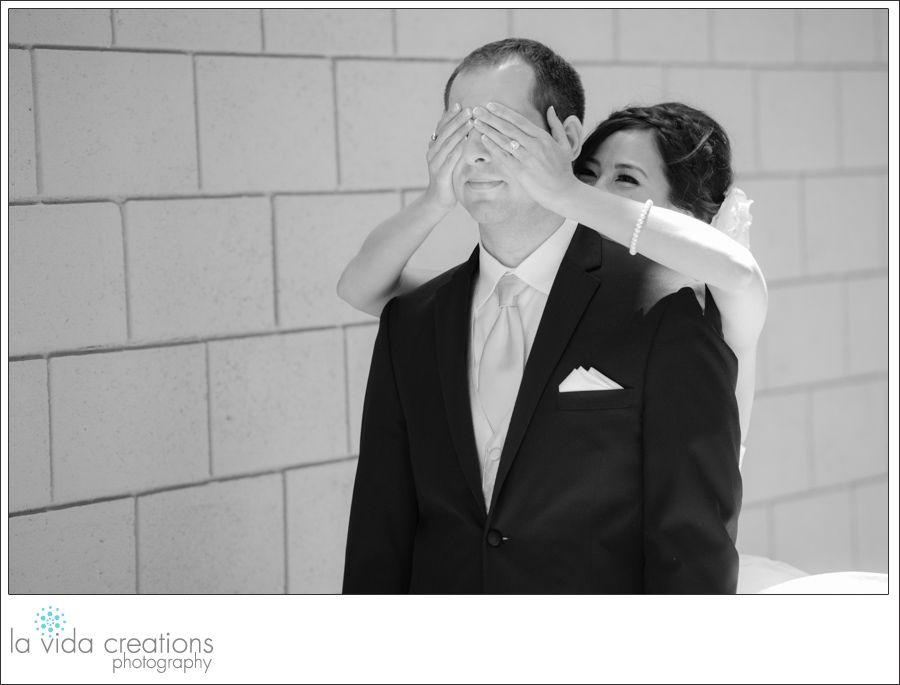 Bride surprises Groom during first look in La Jolla, CA  #marystarofthesea #lajolla   #sandiegozoo #sandiego #california #naturallight #photography #photographer #wedding #love #bride #groom #firstlook #b/w