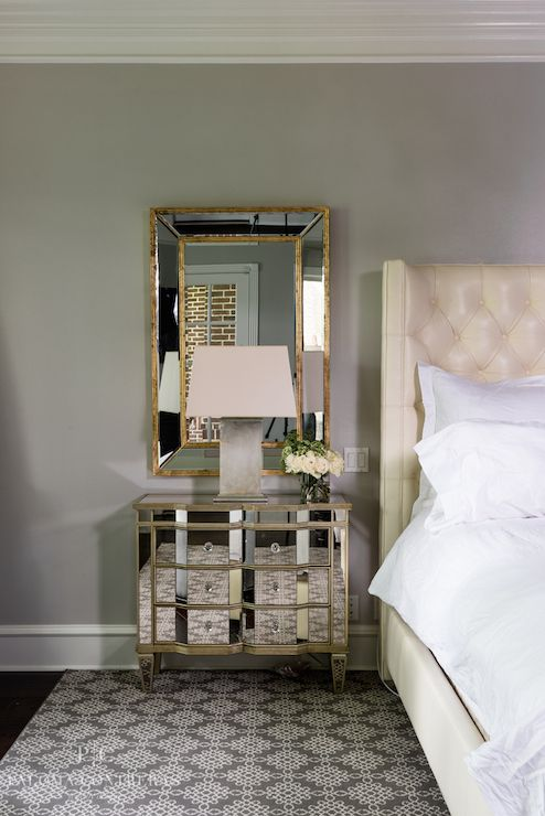 Paloma Contreras Bedrooms Crescent Table Lamp Mirror Over Nightstand Above Gold Trimmed Leafed