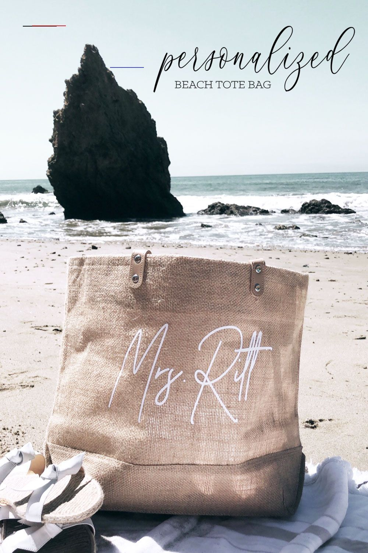 Personalized Beach Tote Bag Beachhoneymoonclothes Jute Beach