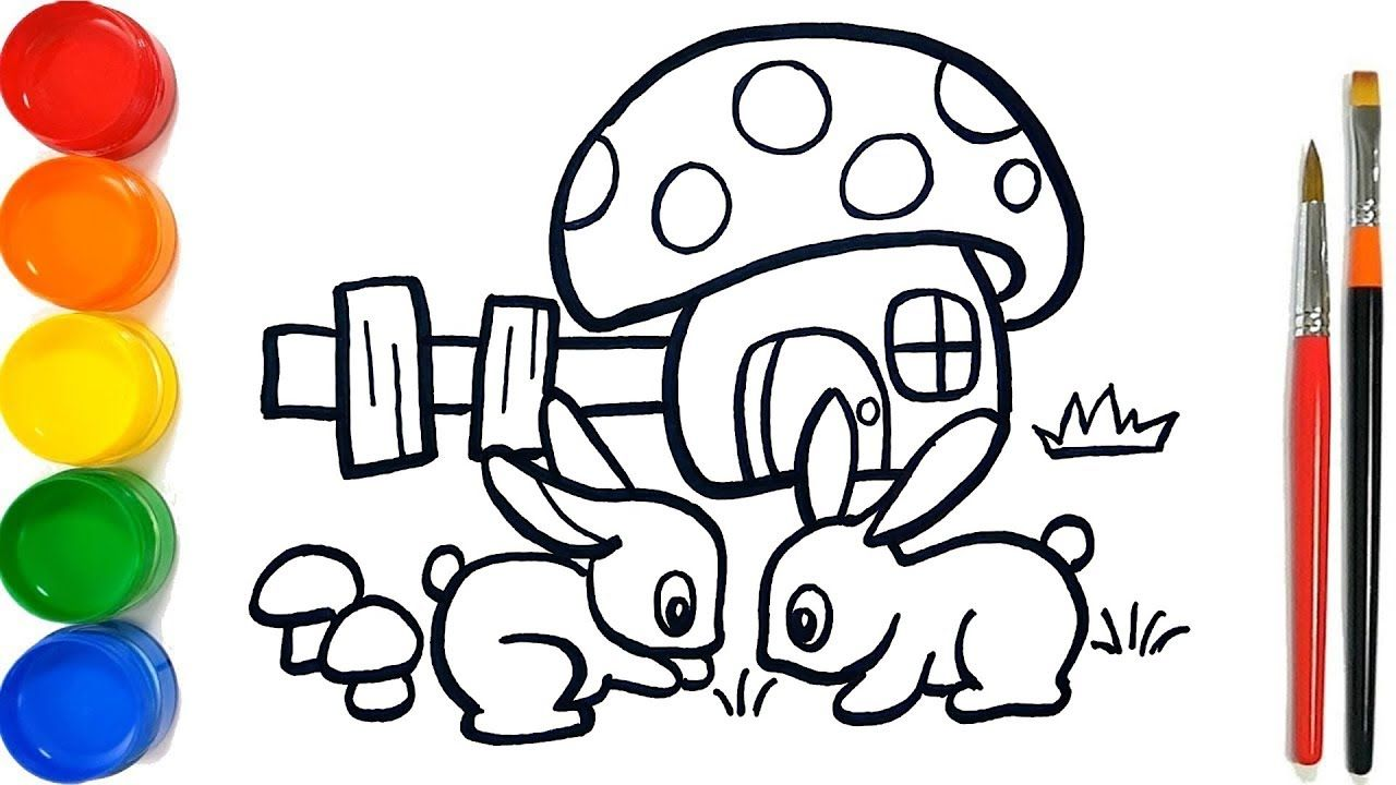 Glitter Rabbit & Mushroom House Coloring Pages For Kids