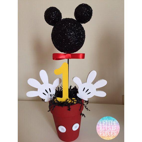 Centros de mesa Mickey Mouse 1er cumpleaños por LoveLBP en Etsy