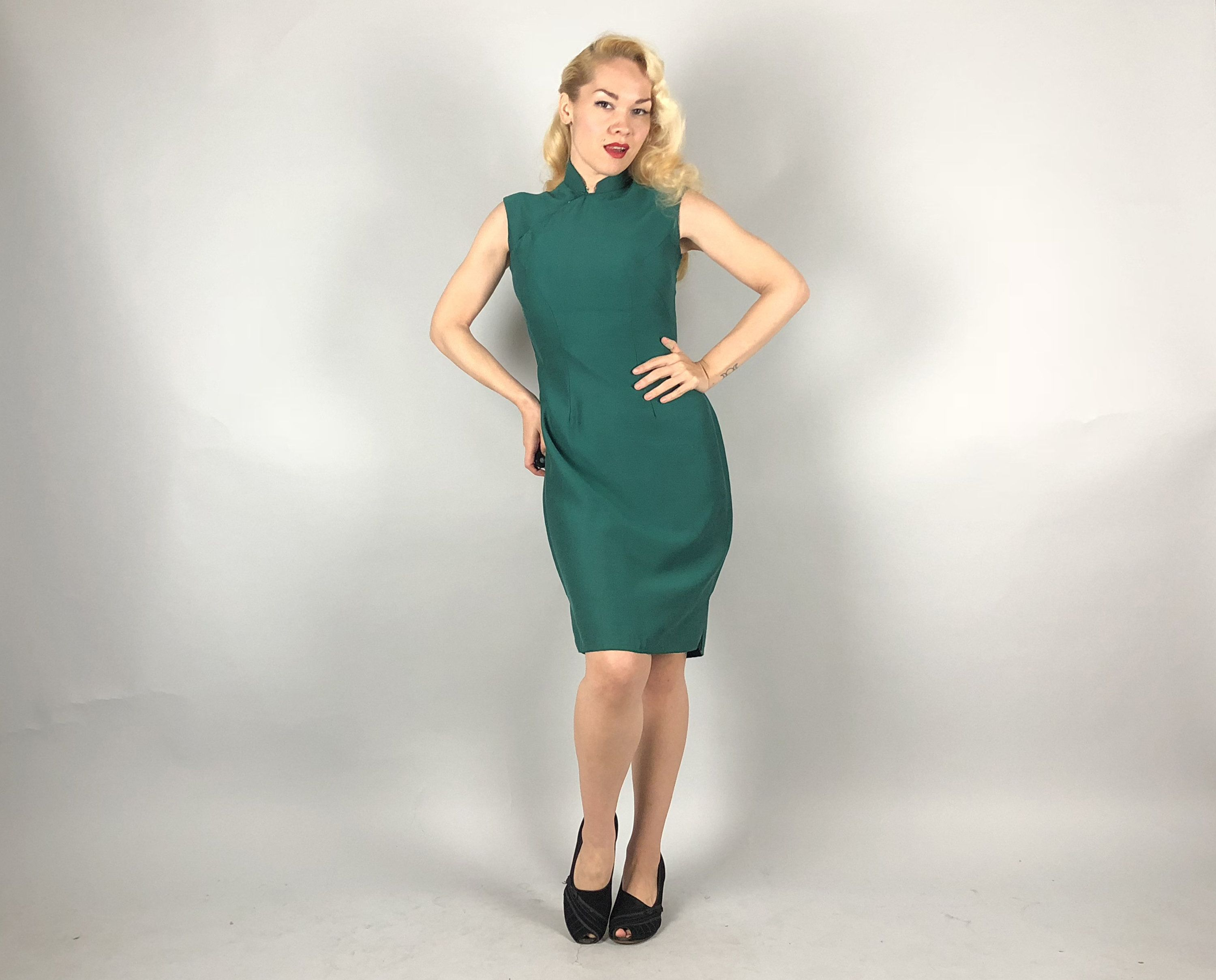Vintage 1950s Dress | 50s Emerald Green Summer Wool Sleeveless ...