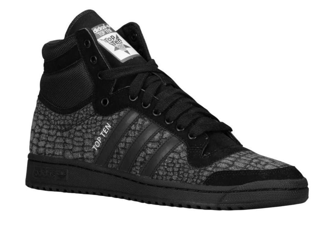new styles 50399 b8e66 NEW Adidas Originals Top Ten Hi Retro Mens Shoes CROC PATTERN Black Gray  S85711