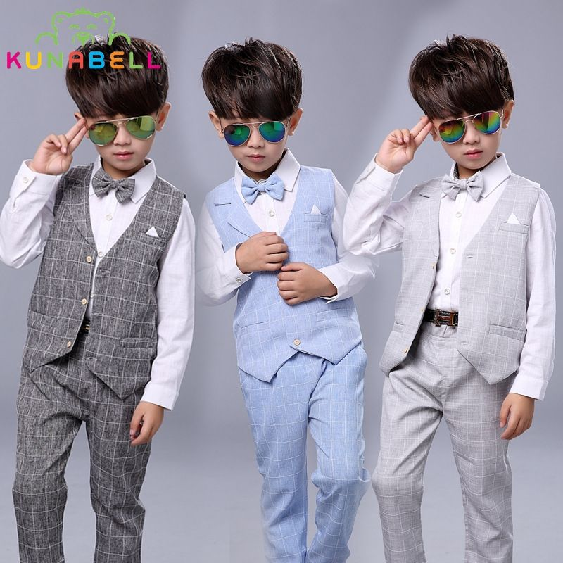 259f897aa Kids Boys Formal Suits Birthday Wedding Party Dress Gentleman Plaid ...