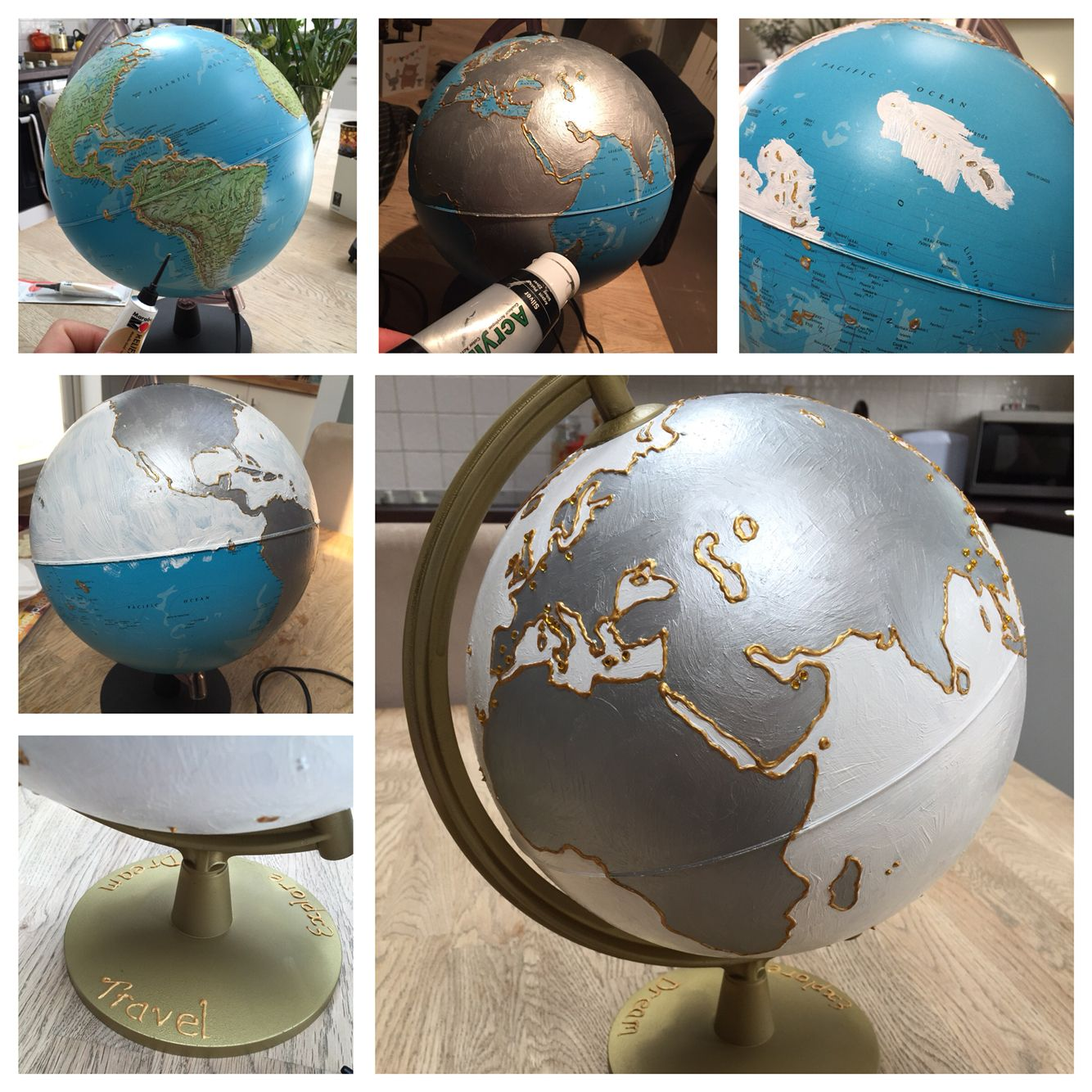 Globe gift I Hand painted using acrylics, gold edging and diamanté for places my friend had visited.