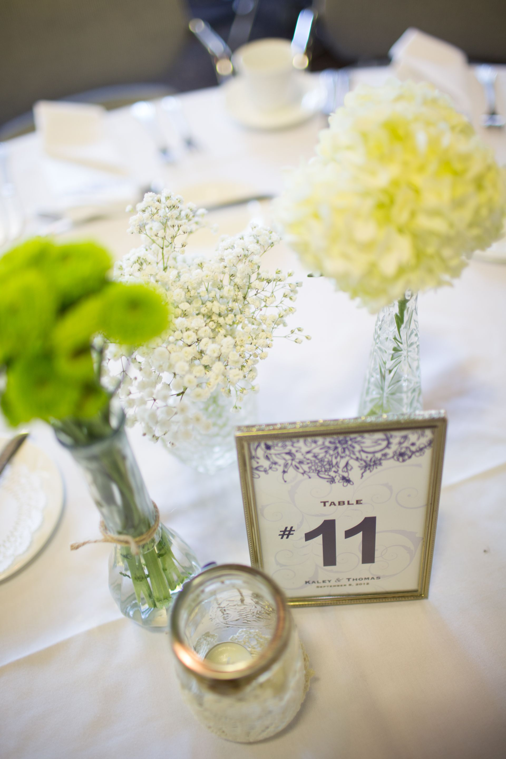 Simple centerpiece, bud vases, hydrangea, baby\'s breathe, green ...