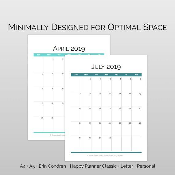 2019 Monthly Printable Calendar in A4, A5, Happy Planner, Erin