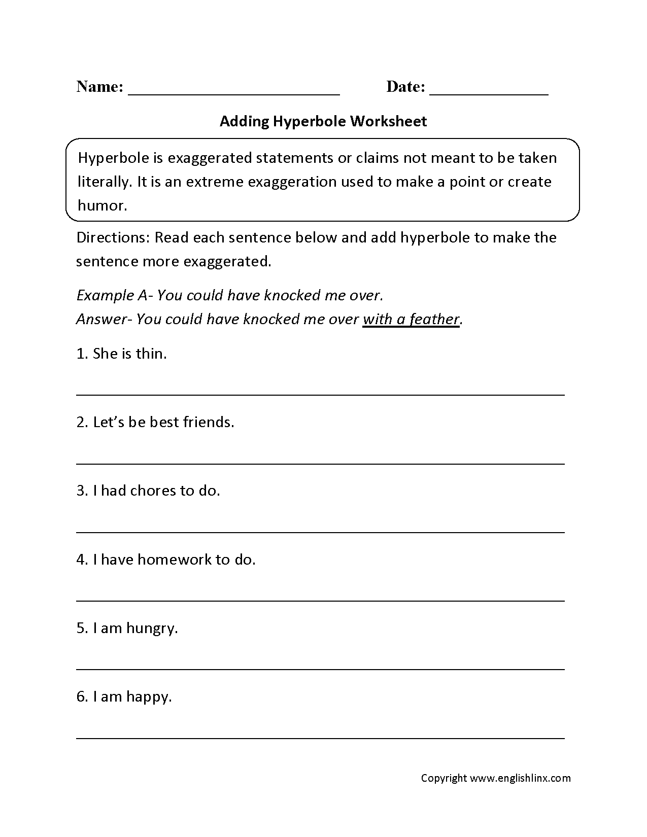 Adding Hyperbole Worksheet   Figurative language worksheet [ 1650 x 1275 Pixel ]