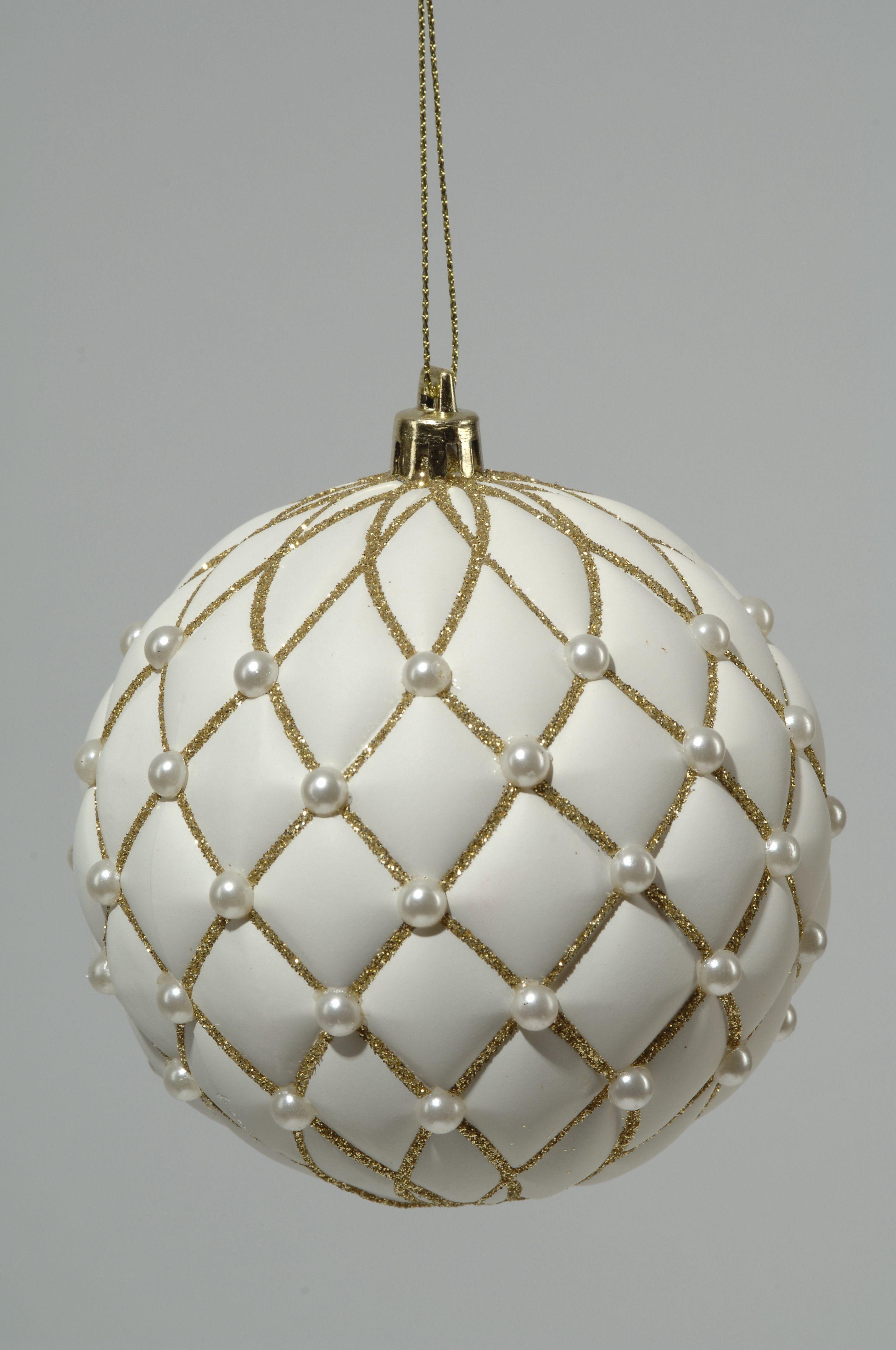 2 Stueck Kugeln Mit Perlen D10cm Weiss Mit Gold Weihnachtskugeln Baumschmuck