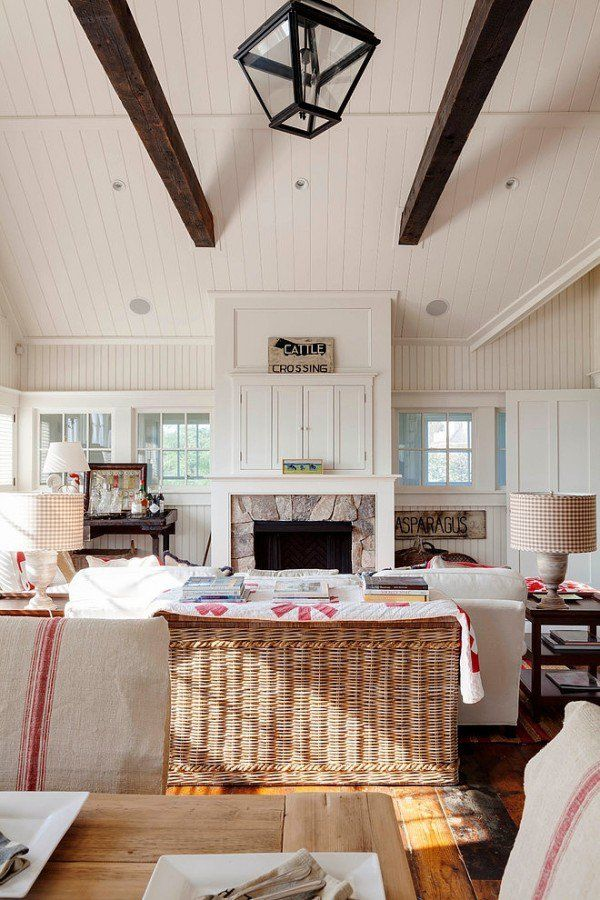 I Like This Look Also With The Dark Beams And Stone Fireplace Windows