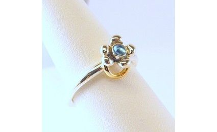 pandora silver and gold flower ring