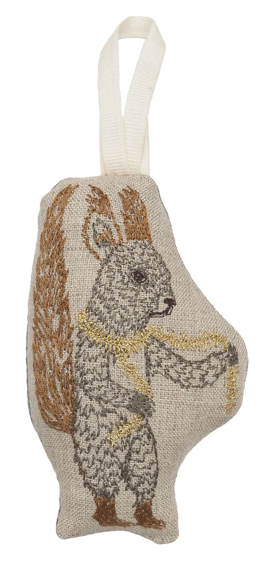 Squirrel is looking snazzy with his gold tinsel scarf! Perfect keepsake ornament from Coral & Tusk.