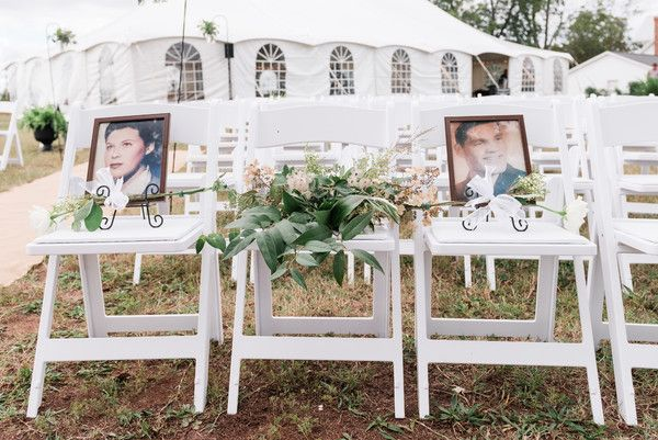 MALLORI MA | Photography         Chairs at the ceremony were reserved for loved ones who had passed away.   Venue:    Ellery Farms  Floral Design:    Botanical Event Design