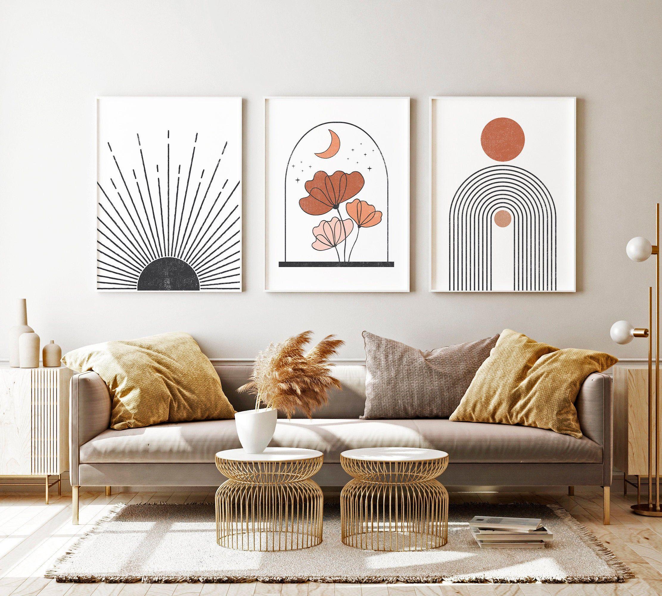 Living Room Decor Boho Room Decor Prints Mid Century Modern  Etsy