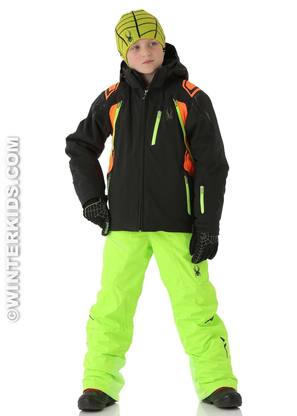 Spyder Boys Vail Jacket Black Neon Orange Neon Green