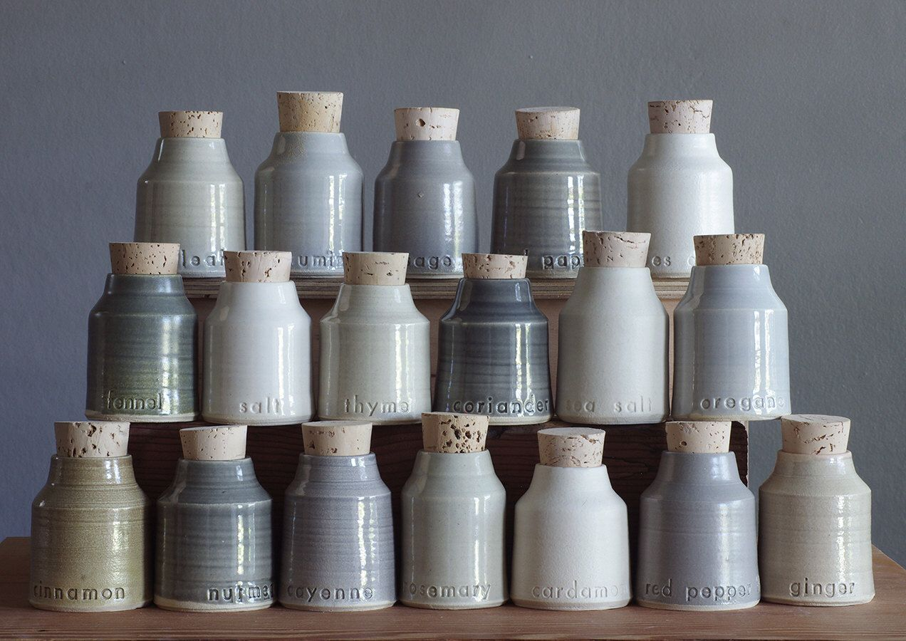 Custom Spice Bottles, Small Pottery Jar With Custom Lettering, Modern  Kitchen. Modern Handmade