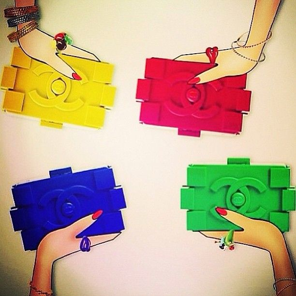 "Chanel colorful ""lego"" Clutch handbags"