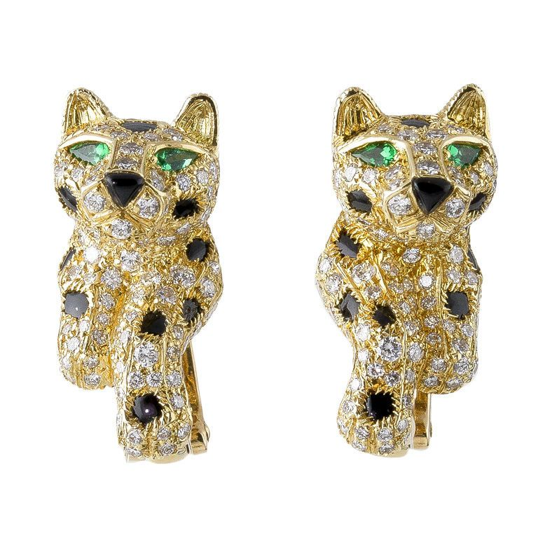 A Bond Street Jeweller And Team Of Designers Handddiamonds Tel 0845 600 5557 Cartier Panther 18k Gold Onyx Diamond Emerald Earrings
