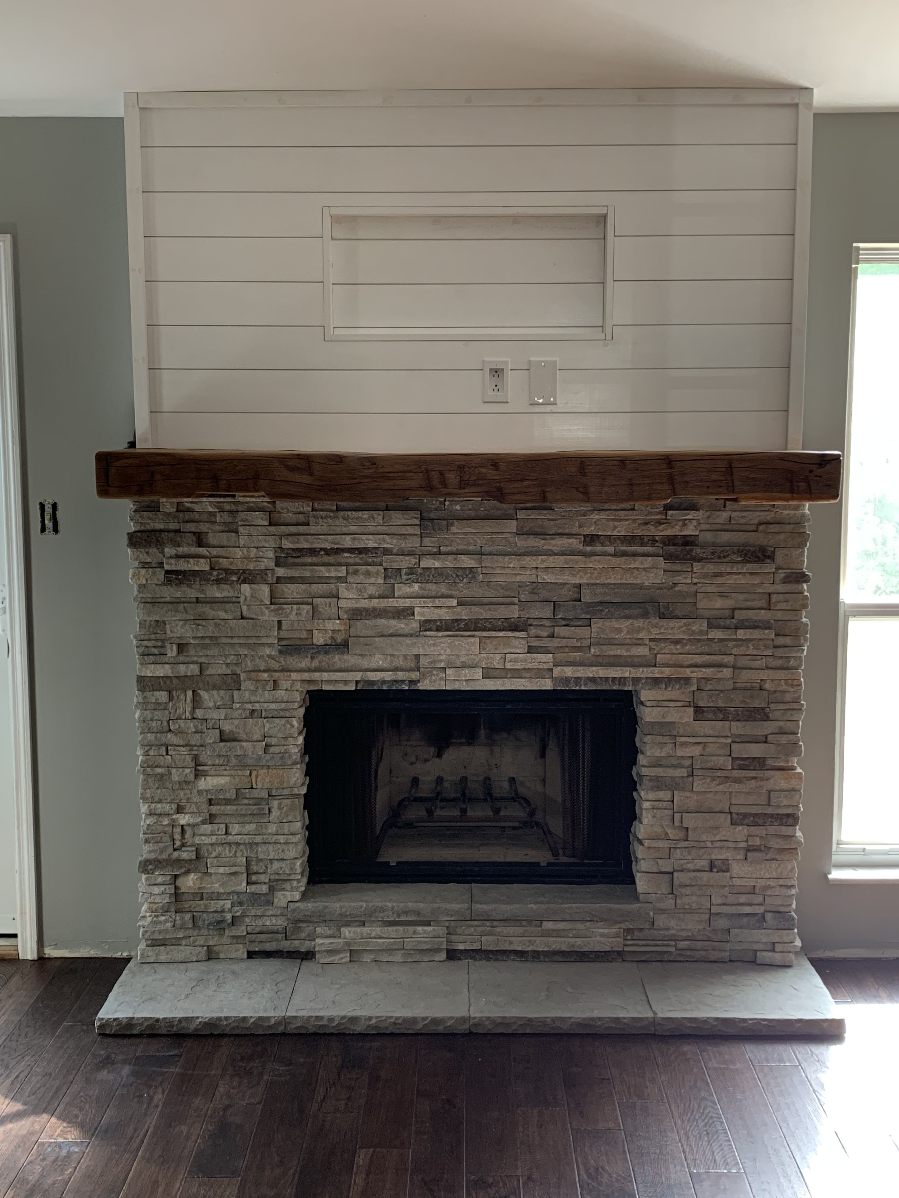 We Updated Our Fireplace Surround Removed Old Brick And Installed New Stacked Stone In 2020 Stacked Stone Fireplaces Wood Fireplace Surrounds Fireplace Hearth Stone