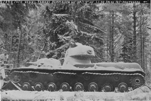 Soviet heavy tank of the SMK as a result of a land mine on the Karelia