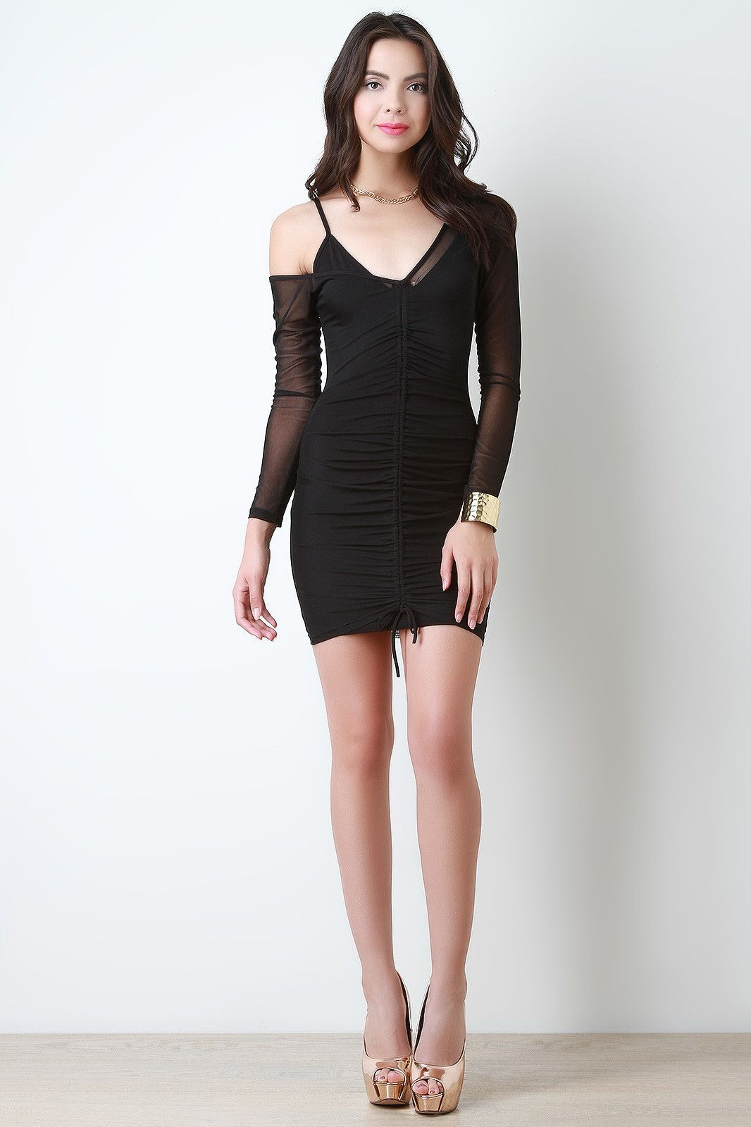 Ruched mesh one cold shoulder long sleeves bodycon dress products
