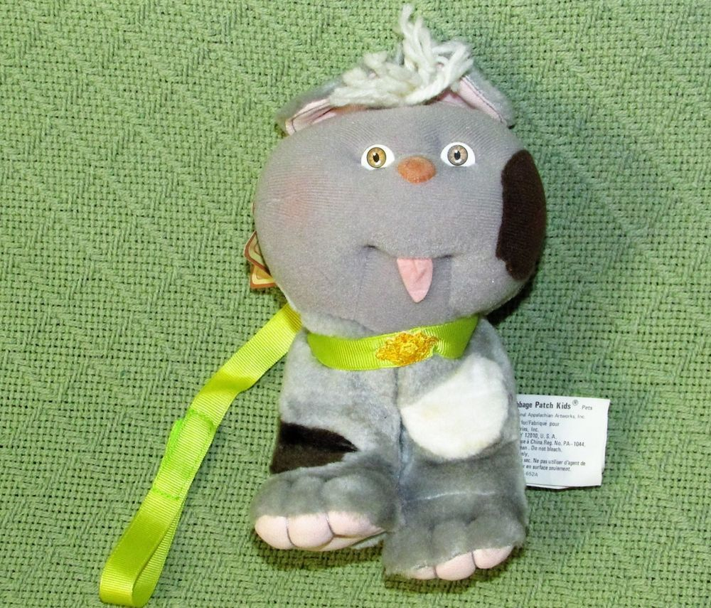 Vintage 1986 Cabbage Patch Kids Plush Grey Dog Cat Spotted Original Tag 6 Tall Cabbagepatch Animals For Kids Cabbage Patch Kids Grey Dog
