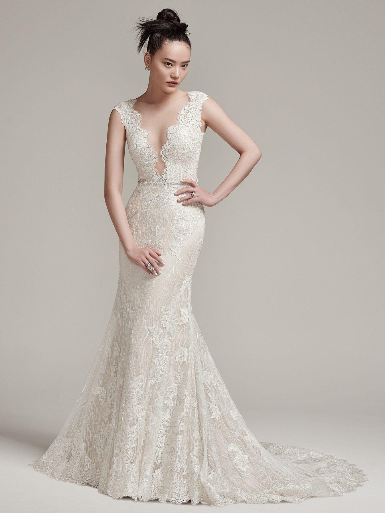 Cap sleeve vneck lace sheath wedding dress maggie sottero