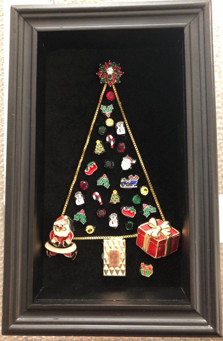 Excited To Share This Item From My Etsy Shop Adorable Christmas Tree Made Christmas Charms And Costume Jewelry Xmas Charms Shadow Box Frames Christmas Charms