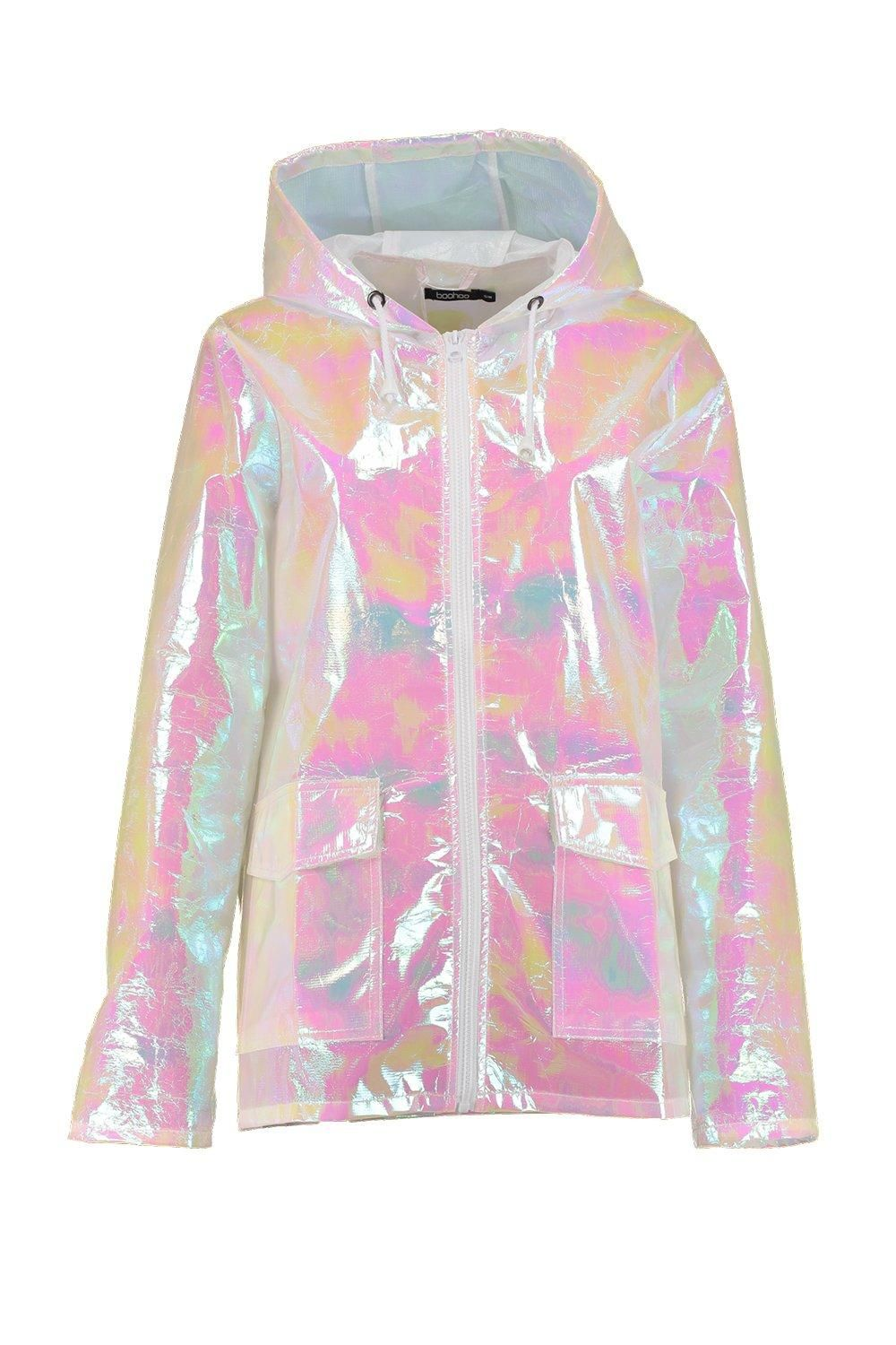 new Ladies WATERPROOF RAIN MAC PARKA Festival RAINCOAT Size S//M IRIDESCENT pink