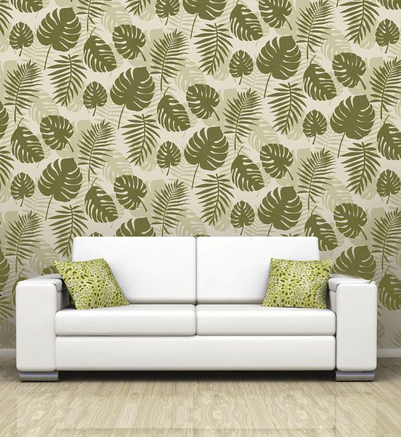 Monstera Swiss Cheese Plant Allover Wallpaper Stencil Reusable Diy Home Decor Interiors Feature Wall Wallpaper Alternative Muebles Murales Cajas