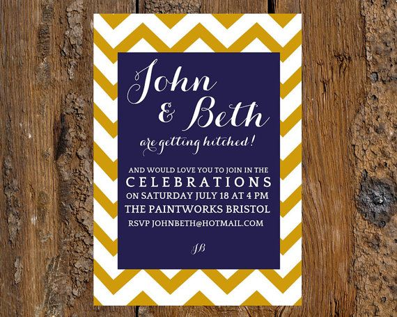Wedding Invitation template - u0027Chevron designu0027 (Navy and gold - ms word invitation templates