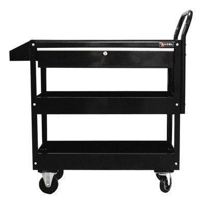 excel metal utility cart color black